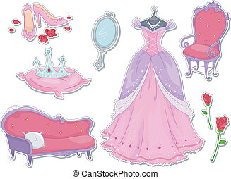 Princess Stickers - Illustration of Royalty Items That Can...