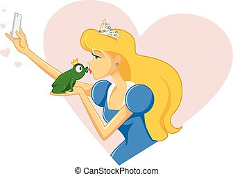 Princess Taking Selfie and Kissing Frog Vector.eps - Drawing...