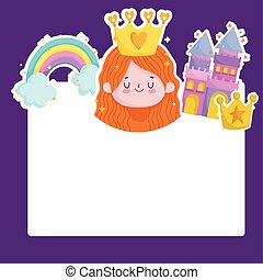 princess tale castle rainbow crown cartoon card template
