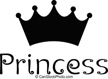 Princess Text Logo With Crown Symbol Black Vector illustration On White Background