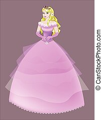 princess the blonde in a pink dress