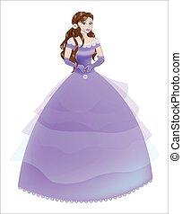 princess the brunette in a purple dress