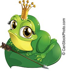 Princess the frog that sits on a sheet of water lilies on a...