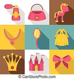 Princess things icon set, flat style