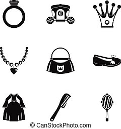 Princess things icon set, simple style