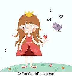 princess., vecteur, illustration