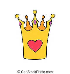 Princess vector crown with heart isolated on white background