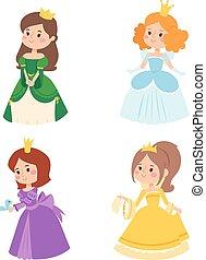 Princess vector set.