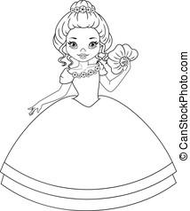 Princess Violet Coloring Page - Violet Princess with a fan...
