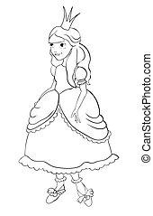 Princess with a crown. Contour
