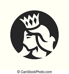 Princess with crown silhouette sign