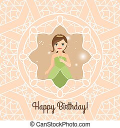 Princess with lights on decorative background