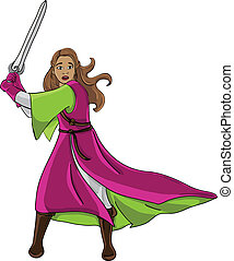 princess worrior - Vector illustration in Eps 8 form of girl...
