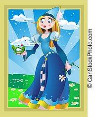 princessand, kikker, op, de, fairytale, lands%u0441ape
