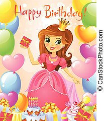 princesse, card., joyeux anniversaire, salutation