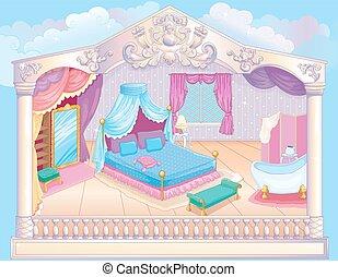 princesse, conte fées, luxe, chambre à coucher