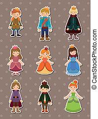 princesse, dessin animé, prince, autocollants