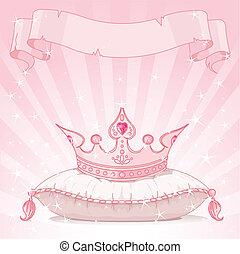 princesse, fond, couronne