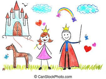 princesse, gosses, prince, dessin