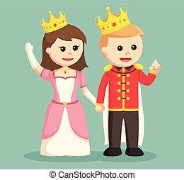 princesse, prince, tenant main