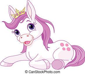 princesse, reposer, mignon, cheval