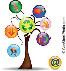 principal, arbre, icones affaires