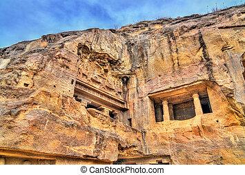 principal, caverna, unesco, budista, índia, local, maharashtra, ellora, caves., oração, herança, mundo, vishvakarma, corredor