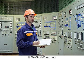 principal, contrôle, ingénieur, panneau