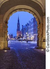 principal, corredor cidade, em, gdansk