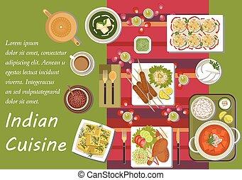 principal, cozinha, indianas, pratos, lanches
