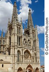 Principal Facade of Burgos Gothic Cathedral. Spain -...