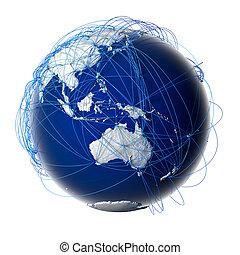 principal, global, aviação, rotas, ligado, globo