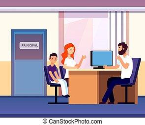 Principal office. Mom apprentice teacher meeting in school. Unhappy parent son talk angry principal director. Education vector concept