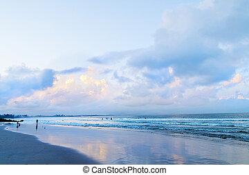 principal, praia, em, byron, baía, após, pôr do sol