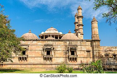 principal, turista, -, parque, champaner-pavagadh, jami, atração, arqueológico, gujarat, índia, masjid