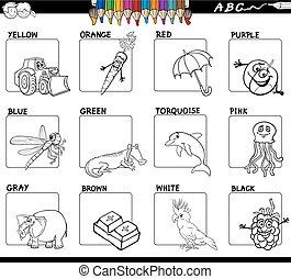 principale, colori, educativo, worksheet, per, coloritura