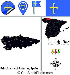 Principality of Asturias, Spain - Vector map of principality...