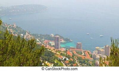 Principality of Monaco, top view, timelapse