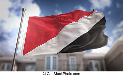 Principality of Sealand Flag 3D Rendering on Blue Sky Building Background