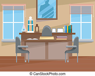 Principal's Office Interior - Illustration Featuring the...