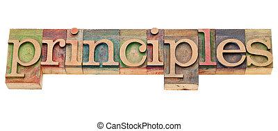 principes, letterpress, mot