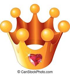 principessa, amore, corona