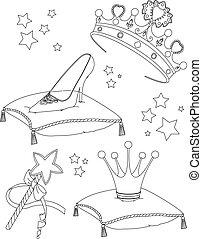 principessa, collectibles, coloritura, pag