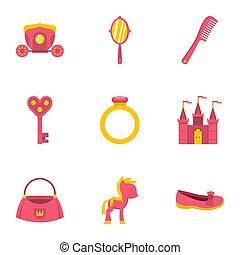 principessa, cose, icona, set, appartamento, stile
