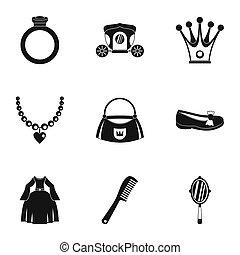 principessa, cose, icona, set, semplice, stile