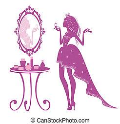 principessa, di, il, specchio