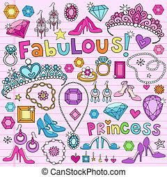 principessa, doodles, vettore, set