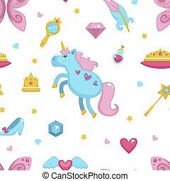 principessa, elementi, fondo, bacchetta, modello, seamless, isolato, vector., unicorno, magia, bianco, fata