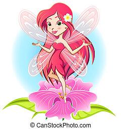 principessa fata, volare, sopra, uno, flowe