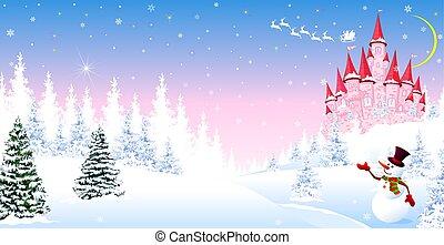 principessa, inverno, foresta, castello, 1, fondo, fairytale